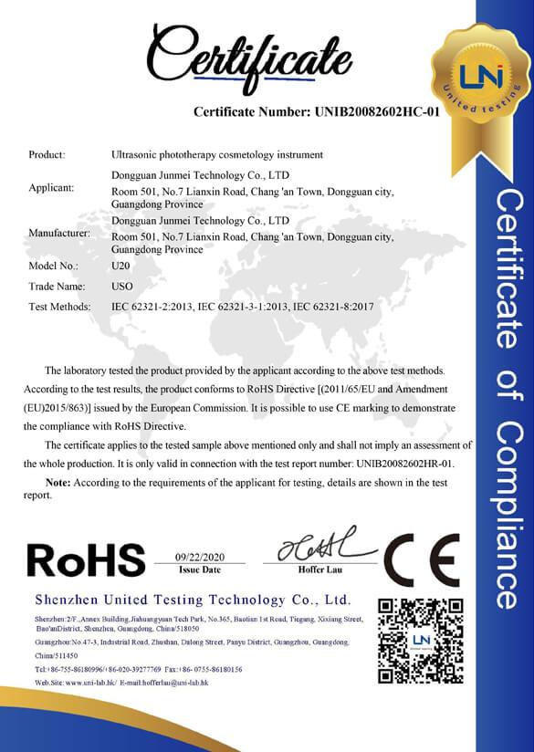 Ultrasonic Beauty Instrument RoHS2.0 Certificate